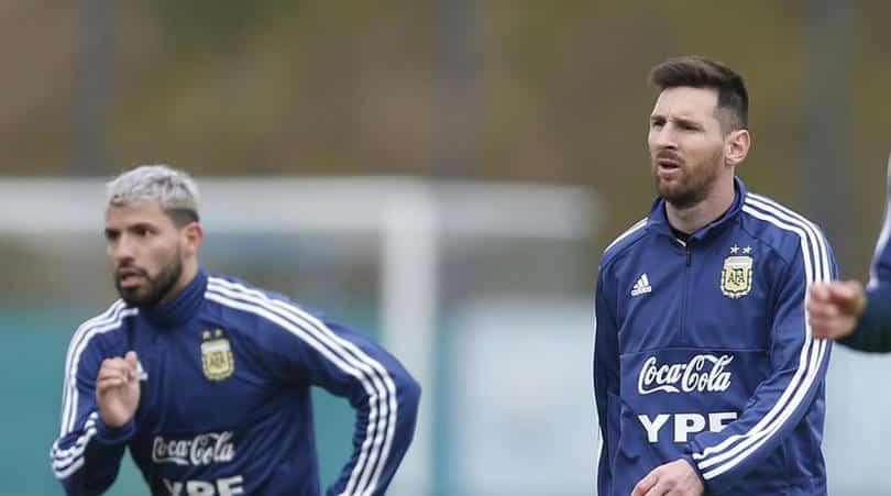 Argentina's player Sergio Aguero and Lionel Messi
