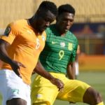 Bafana Bafana striker Lebo Mothiba and Ivory Coast defender Serge Aurier