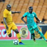 Lazarous kambole of Zesco challenged by Willard Katsande of Kaizer Chiefs