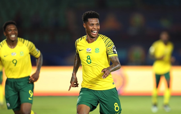 Bongani Zungu of Bafana Bafana celebrates his winning goal