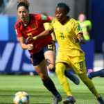 Thembi Kgatlana of Banyana Banyana in action against Spain