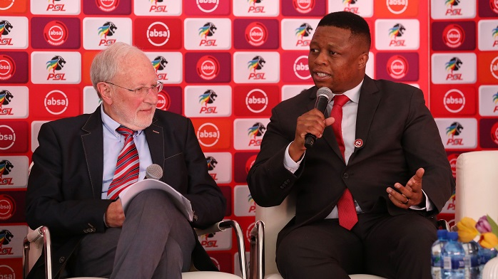 Pro Ronnie Schloss (COO of the PSL) and Mtunzi Jonas (General Manager Sponsorships at Absa)