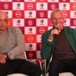 Owen Da Gama, coach of Highlands Park with Ernst Middendorp, coach of Kaizer Chiefs during the Absa Premiership 2019/20 Launch