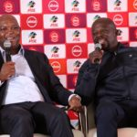 Pitso Mosimane, coach of Mamelodi Sundowns with Kaitano Tembo, coach of Supersport United