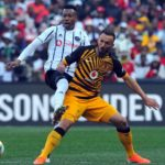 Happy Jele of Orlando Pirates challenges Samir Nurkovic of Kaizer Chiefs