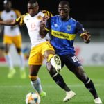 Siphelele Mthembu of Cape Town City is challenged by George Maluleka of Kaizer Chiefs