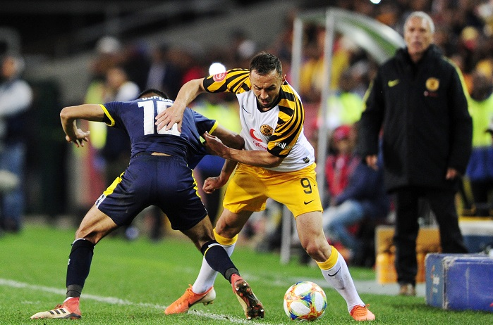 Samir Nurkovic of Kaizer Chiefs is tackled by Keanu Cupido of Cape Town City