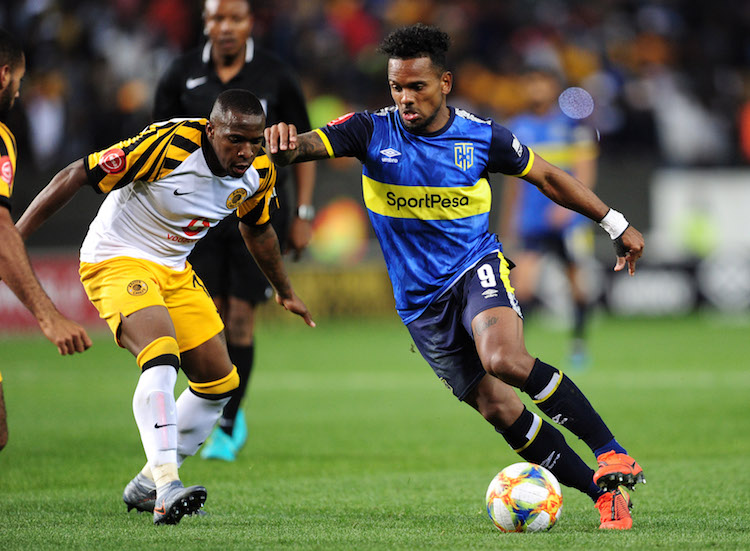 Kermit Erasmus of Cape Town City takes on George Maluleka of Kaizer Chiefs during the Absa Premiership 2019/20 game between Cape Town City and Kaizer Chiefs at Newlands Stadium in Cape Town on 27 August 2019 © Ryan Wilkisky/BackpagePix