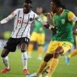 Augustine Mulenga of Orlando Pirates challenged by Matome Mathiane
