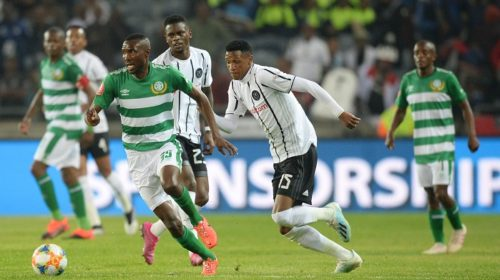 PSL Lucky Baloyi of Bloemfontein Celtic and Vincent Pule of Orlando Pirates