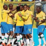 Sibusiso Vilakazi of Sundowns celebrates with his teammates after opening PSL account