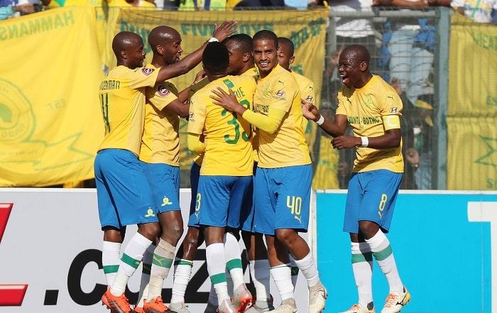 Sibusiso Vilakazi of Sundowns celebrates with his teammates after opening PSL account
