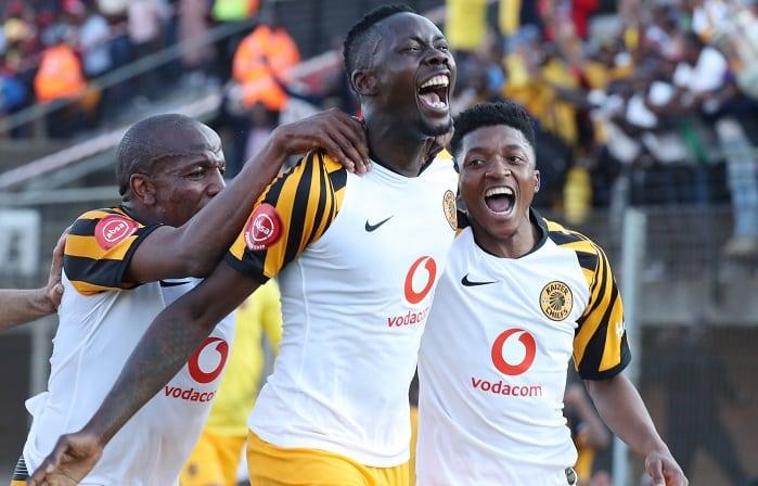 Erick Mathoho of Kaizer celebrates his winning goal against Highlands Park
