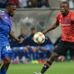 Onismor Bhasera of Supersport United and Ben Motshwari of Orlando Pirates