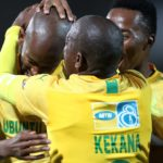 Mosa Lebusa of Mamelodi Sundowns celebrates goal with his teammates
