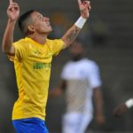 Gaston Sirino of Mamelodi Sundowns celebrates goal during the CAF Champions League match between Mamelodi Sundowns and AS Otoho Doyo