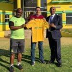 Pitso Mosimane, Patrice Motsepe and José Ramón Alexanko of Mamelodi Sundowns