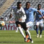 Happy Jele of Orlando Pirates challenged by Lerato Manzini of Chippa United