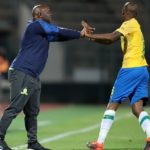 Mosa Lebusa celebrates with Pitso Mosimane, coach of Mamelodi Sundowns