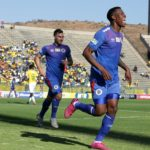 Thamsanqa Gabuza of Supersport United celebrates goal with teammates during the MTN8 2019 match between Supersport United and Mamelodi Sundowns