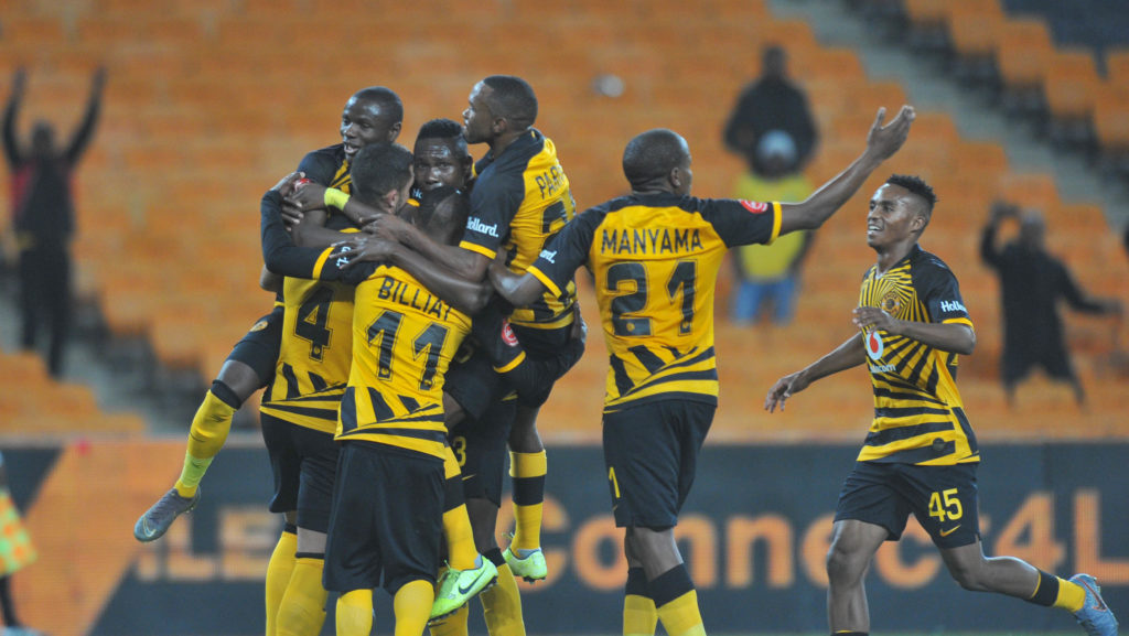 Daniel Cardoso of Kaizer Chiefs celebrates his goal with teammates