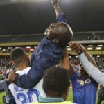 Kaitano Tembo, head coach of Supersport United hoisted by players as they celebrate victory during the MTN8 2019 Final