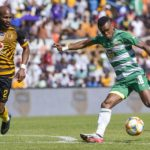 Harris Tchilimbou of Bloemfontein Celtic and Ramahlwe Mphahlele of Kaizer Chiefs