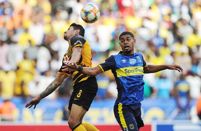 Leonardo Castro of Kaizer Chiefs and Ebrahim Seedat of Cape Town City battle in the air during the 2019 Telkom Knockout last 16 game