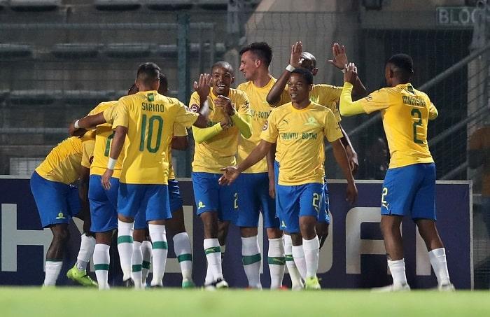 Mauricio Affonso of Mamelodi Sundowns and his teammates celebrate Samuel Shivambu/BackpagePix