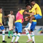 Mauricio Affonso of Mamelodi Sundowns celebrates his winning goal with teammates