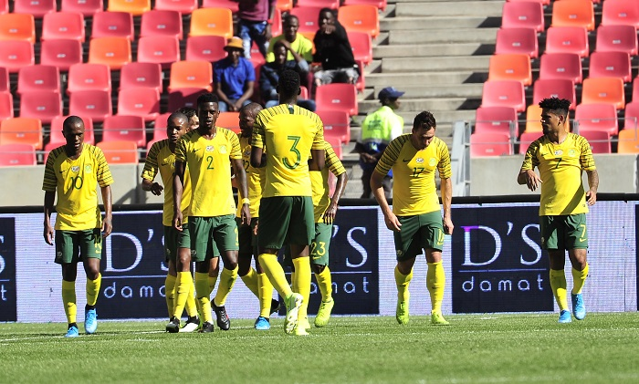 Bafana Bafana celebrate the opening goal against Mali in the Nelson Mandela Challenge