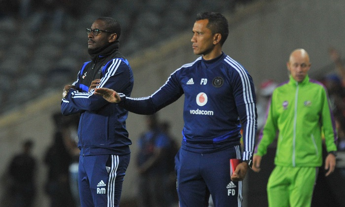Rhulani Mokwena coach of Orlando Pirates and assistant coach Fadlu Davids