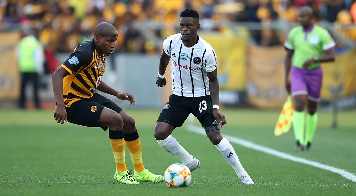 Innocent Maela of Orlando Pirates challenged by Lebogang Manyama of Kaizer Chiefs during the 2019 Telkom Knockout quarter final match