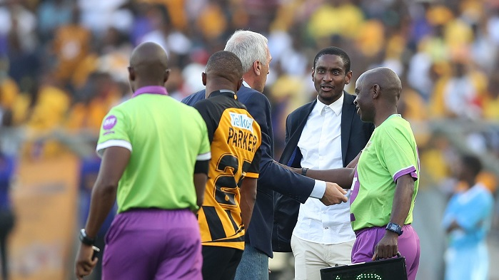 Rhulani Mokwena, coach of Orlando Pirates and Ernst Middendorp, coach of Kaizer Chiefs during the 2019 Telkom Knockout quarter final match