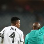 Happy Jele of Orlando Pirates receives a red card from Referee, Kulasande Qongqo during the Absa Premiership 2019/20 match between Orlando Pirates and Maritzburg United