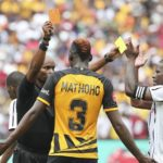 Erick Mathoho of Kaizer Chiefs receives red card during the Absa Premiership clash against Orlando Pirates