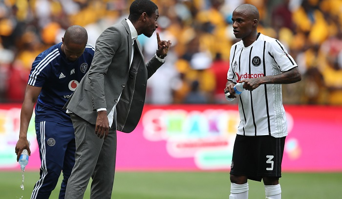 Rhulani Mokwena, coach of Orlando Pirates and Thembinkosi Lorch
