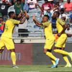 Lebogang Phiri celebrates his goal with teammate Thulani Hlatshwayo of Bafana Bafana