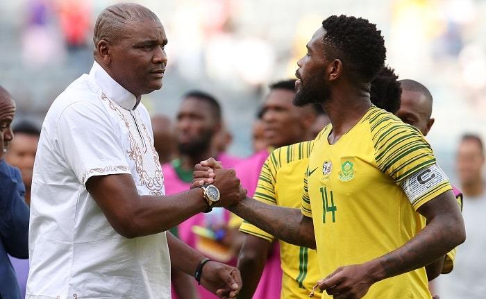 Molefi Ntseki, coach of Bafana Bafana with Thulani Hlatshwayo