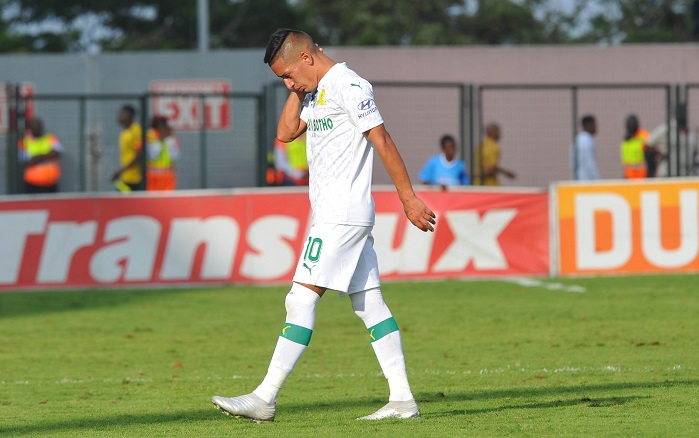Gaston Sirino of Mamelodi Sundowns after being sentoff