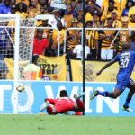 Judas Mosemaedi of Maritzburg United score goal pass Bruce Bvuma of Kaizer Chiefs