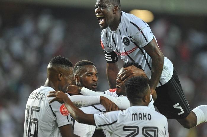 Kabelo Dlamini of Orlando Pirates celebrates his goal with teammates