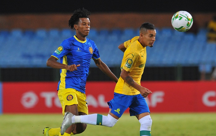 Gaston Sirino of Mamelodi Sundowns tackled by Alberto Campos of Petro Atletico Luanda during the 2019 CAF Champions League match between Mamelodi Sundowns and Pedro Atletico on 30 November 2019 at Loftus Versfeld Stadium Pic Sydney Mahlangu/ BackpagePix