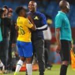 Keletso Makgalwa of Mamelodi Sundowns celebrates his goal with coach Pitso Mosimane