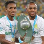 Themba Zwane and Sibusiso Vilakazi of Mamelodi Sundowns celebrate their TKO triumph