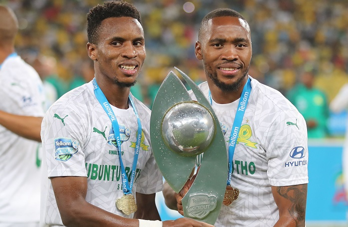 Themba Zwane and Sibusiso Vilakazi of Mamelodi Sundowns celebrate their TKO triumph