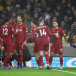 Liverpool's Roberto Firmino celebrates scoring his side's second goal of the game during the Premier League match at Molineux, Wolverhampton.
