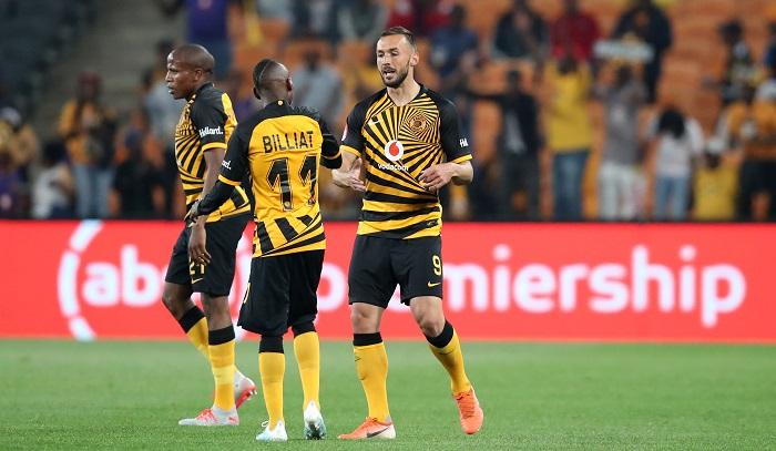 Samir Nurkovic celebrates goal with teammte Khama Billiat of Kaizer Chiefs