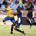 Lebohang Maboe of Mamelodi Sundowns challenged by Buhle Mkhwanazi of Bidvest Wits