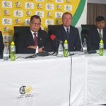SAFA President Dr Danny Jordaan, SAFA acting CEO, Gay Mokoena and President of SASCOC, Barry Hendricks